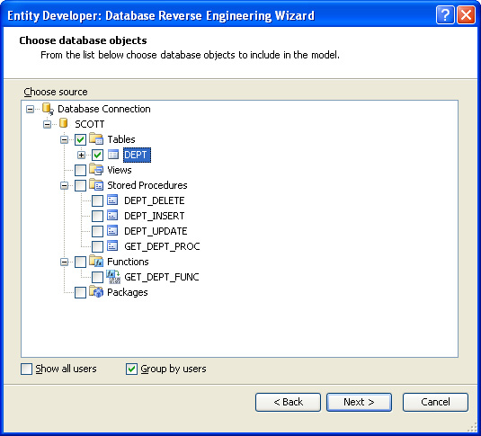 Choose database objects - Database Reverse Engineering Wizard