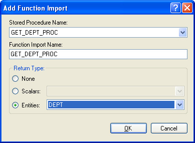 Entity Data Model - Add Function Import