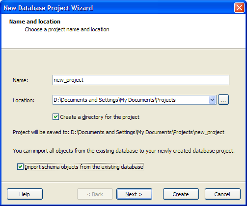 New Database Project Wizard