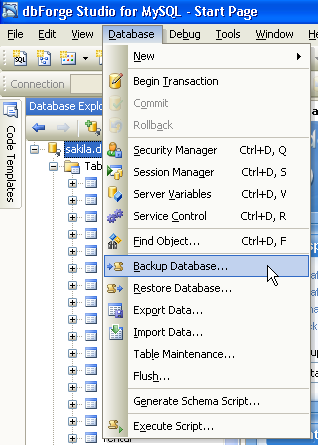 "menu ""backup database"" for opening mysql backup wizard"