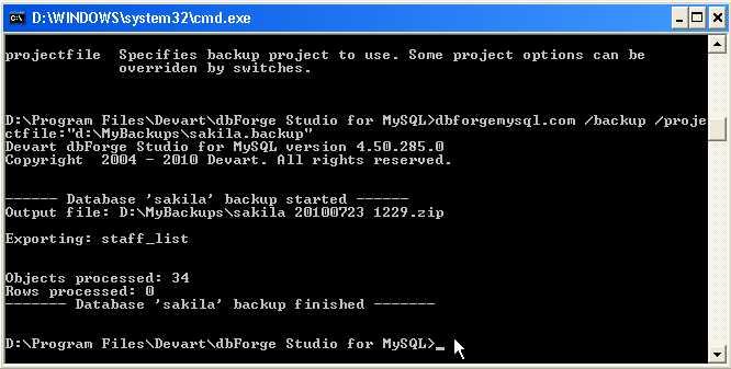 MySQL backup using command line mode