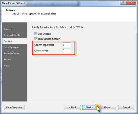 MySQL Data Export Wizard: Column Separator and Quote String