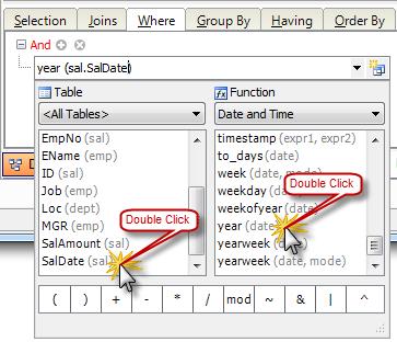 Query Builder: Operand Editor