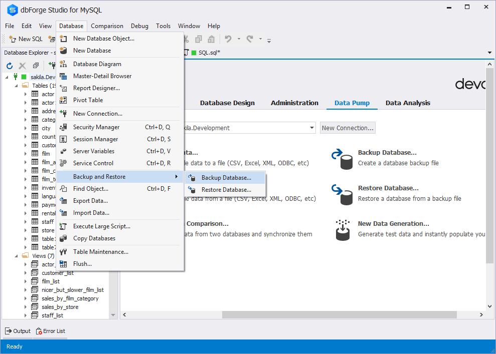 Opening the Database Backup wizard via the Database menu