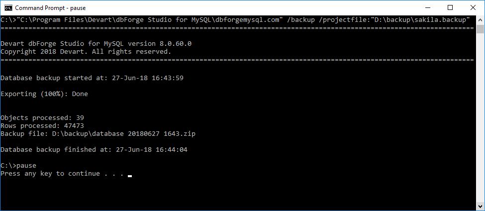 Using command line to backup MySQL database