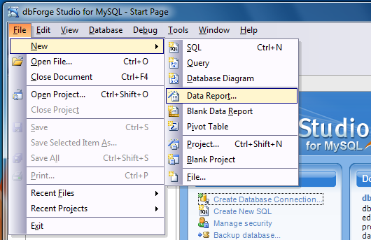 mysql creer database