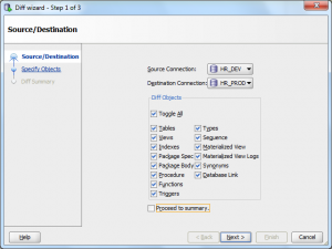 Oracle SQL Developer: Diff Wizard Source and Destination page
