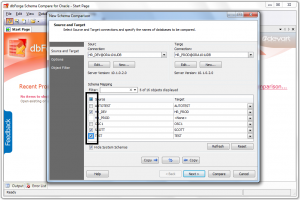 dbForge Schema Compare for Oracle: Choose Source and Target schemas