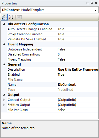 DbContext Template Properties Screenshot