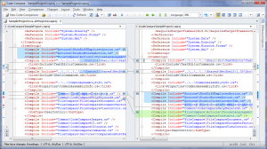Figure 3: Two versions of a C# project file - Structural Comparison is OFF