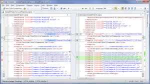 Figure 4: Two versions of a C# project file - Structural Comparison is ON