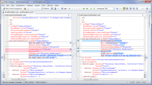 Figure 5: Two versions of a .xaml file - Structural Comparison is OFF