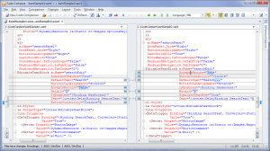 Figure 6: Two versions of a .xaml file - Structural Comparison is ON