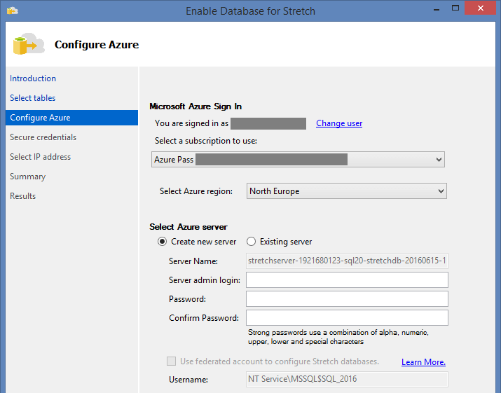 Create new Server in Azure