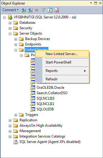Creating a new linked server
