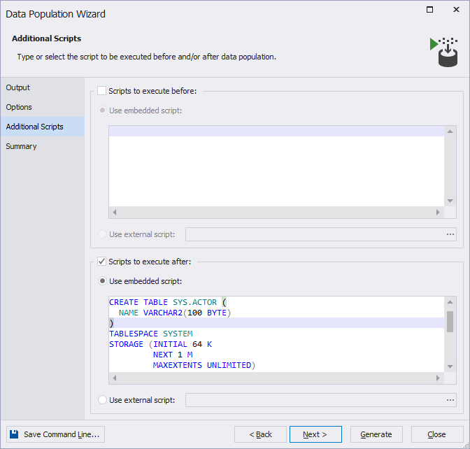 The new Additional Scripts tab within dbForge Data Generator for Oracle