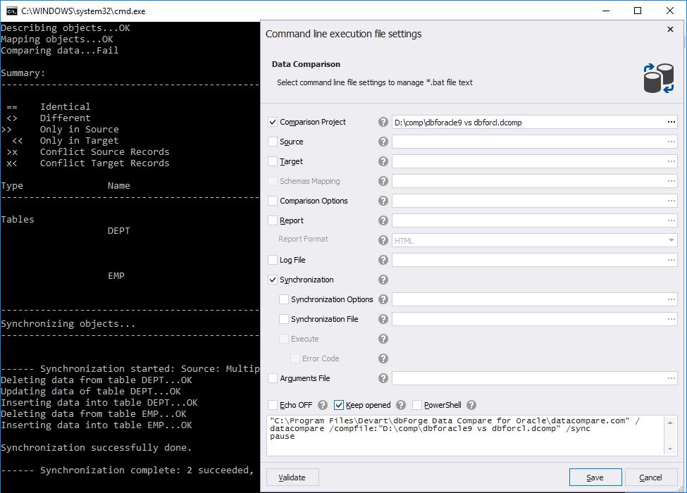 Automate routine data and schema comparison tasks via command line