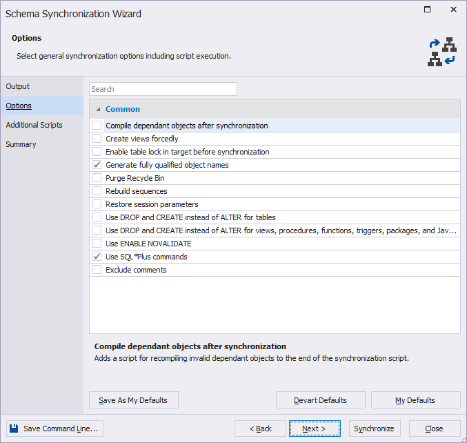 New schema synchronization options within dbForge Studio for Oracle