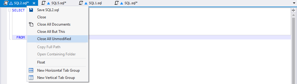 The Close All Unmodified Tabs command