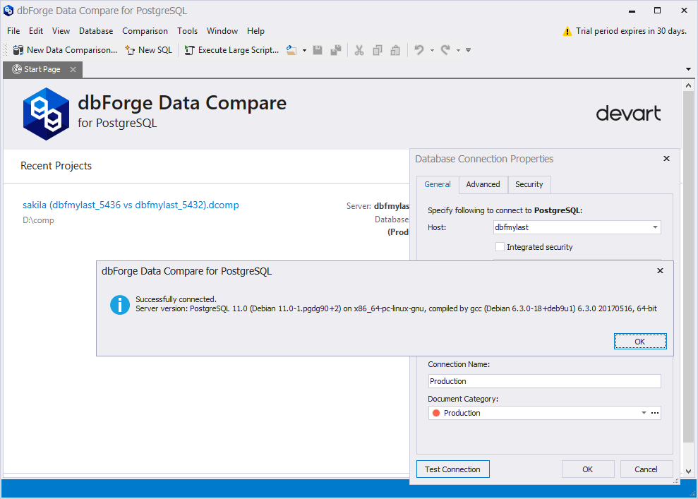 dbForge Data Compare for PostgreSQL is able to connect to the latest PostgreSQL 11.x
