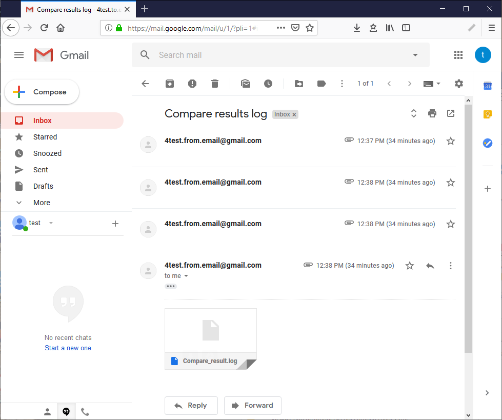 The inbox showing 4 emails with the log attached