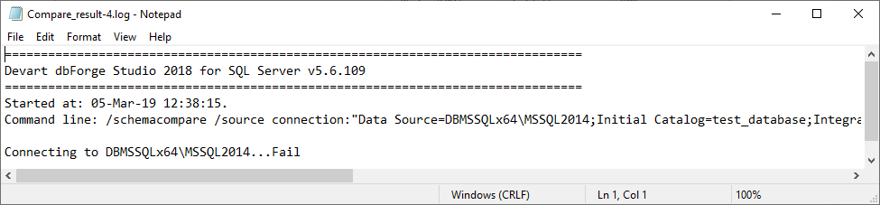 Comparison log #4, which indicates that the connection to the database also failed