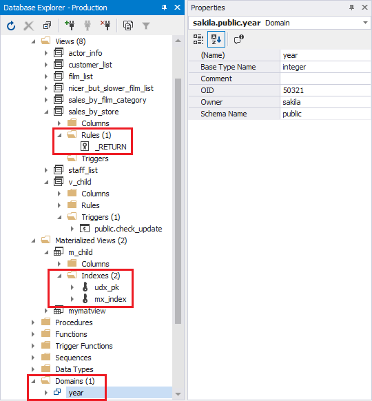 Rules, indexes, and domains in the Database Explorer window