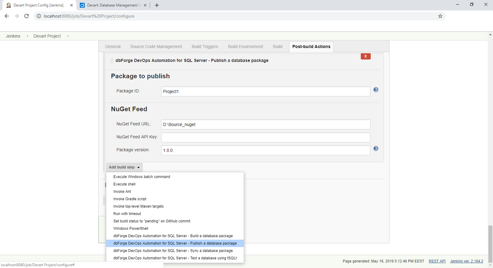 The open-source dbForge DevOps Automation for SQL Server Plugin can now be integrated into Jenkins