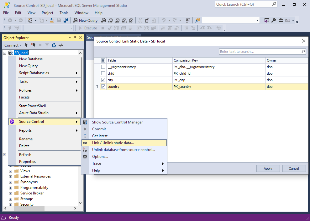 Version-controlling static data within dbForge Source Control for SQL Server, v2.0