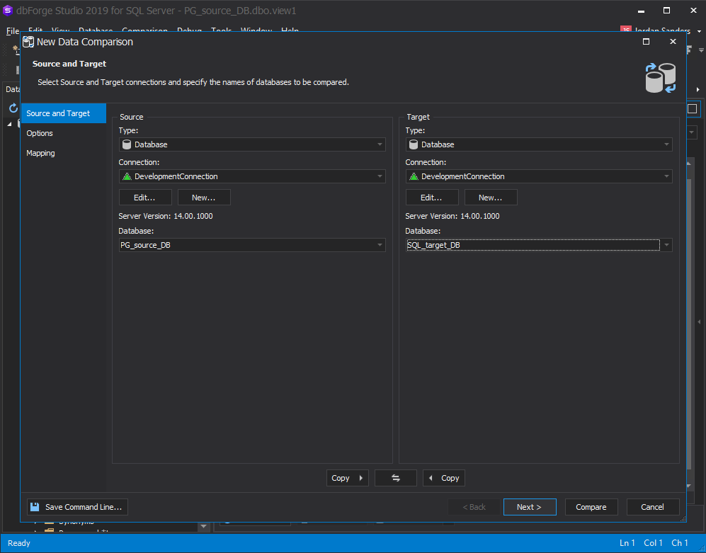 Comparing the source and target databases within dbForge Studio for SQL Server