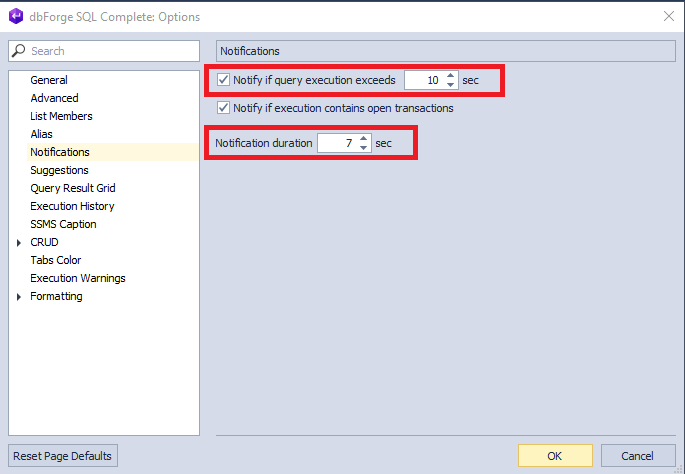 The default settings of the notifications within dbForge SQL Complete