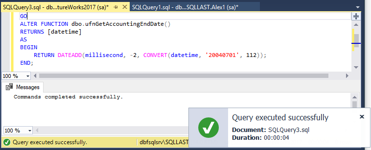 Execution Notifications and Transaction Reminder in SQL Complete