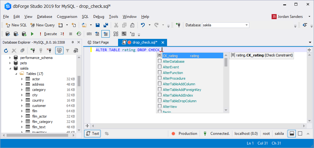 CHECK Constraints Support in Code Completion for ALTER TABLE … ADD CONSTRAINT, CREATE TABLE, and ALTER TABLE
