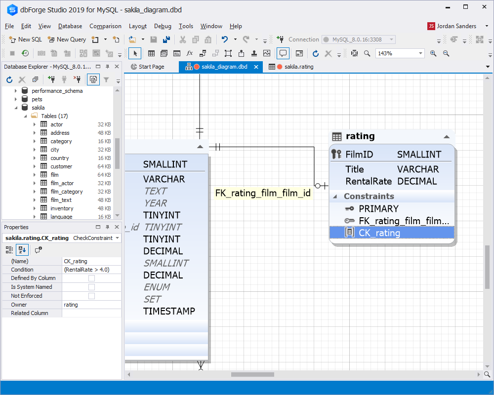 CHECK Constraints Support in Visual Database Diagram within dbForge Studio for MySQL