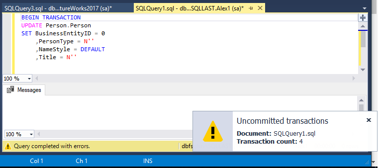 The uncommitted transactions notification in SQL Complete