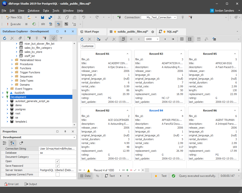 A selection of application skins within dbForge Studio for PostgreSQL
