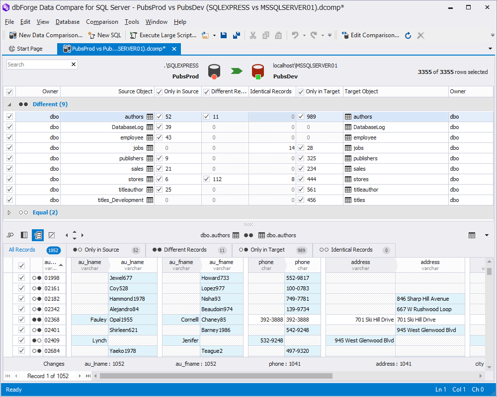 The new design of dbForge Data Compare allows to view the differences in more conveniently