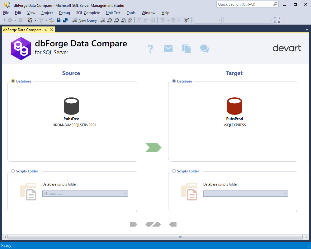 Selecting a scripts folder as Source and Target with dbForge Data Comparison add-in for SSMS