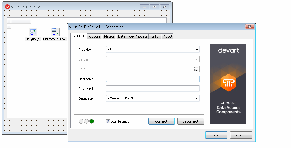 Establishing connection to Visual FoxPro