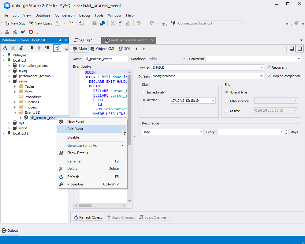 The Edit Event option in dbForge Studio for MySQL
