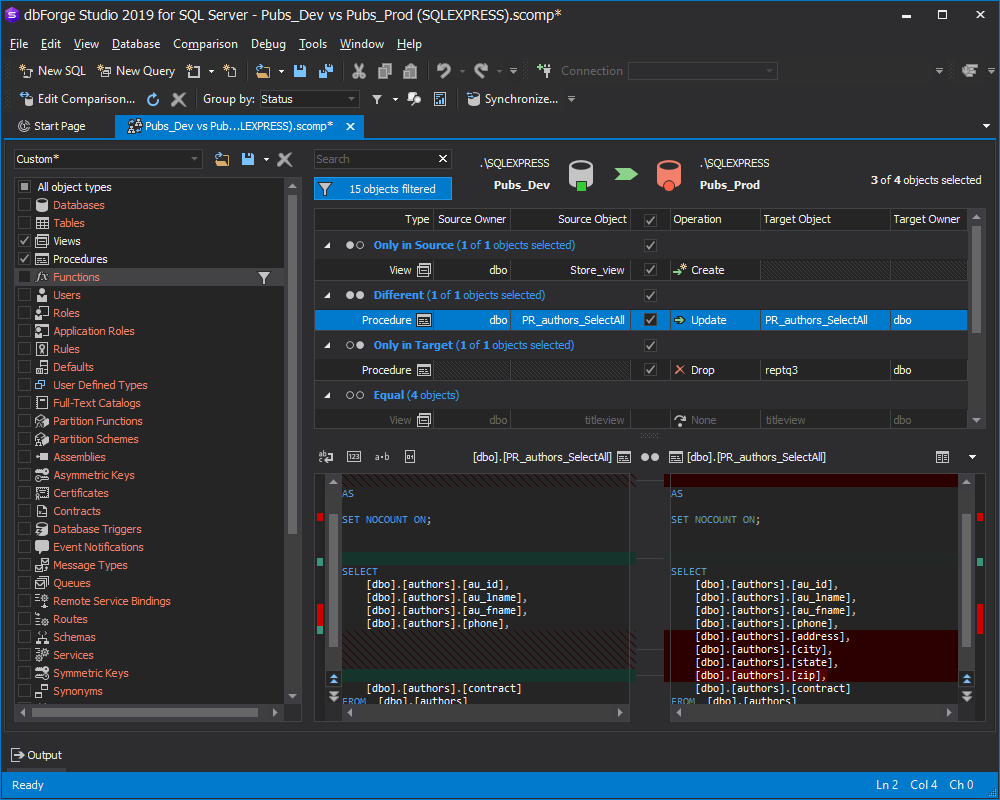 Filtering objects in Comparison Document in dbForge Studio for SQL Server