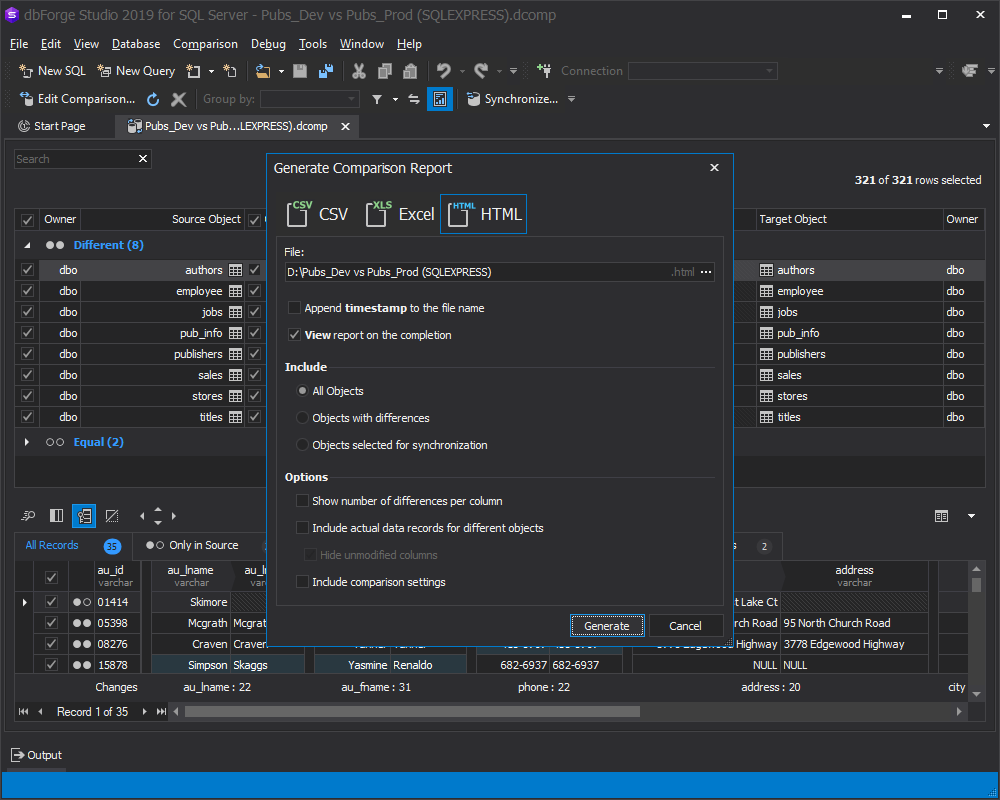 The redesigned window with broad report generation options