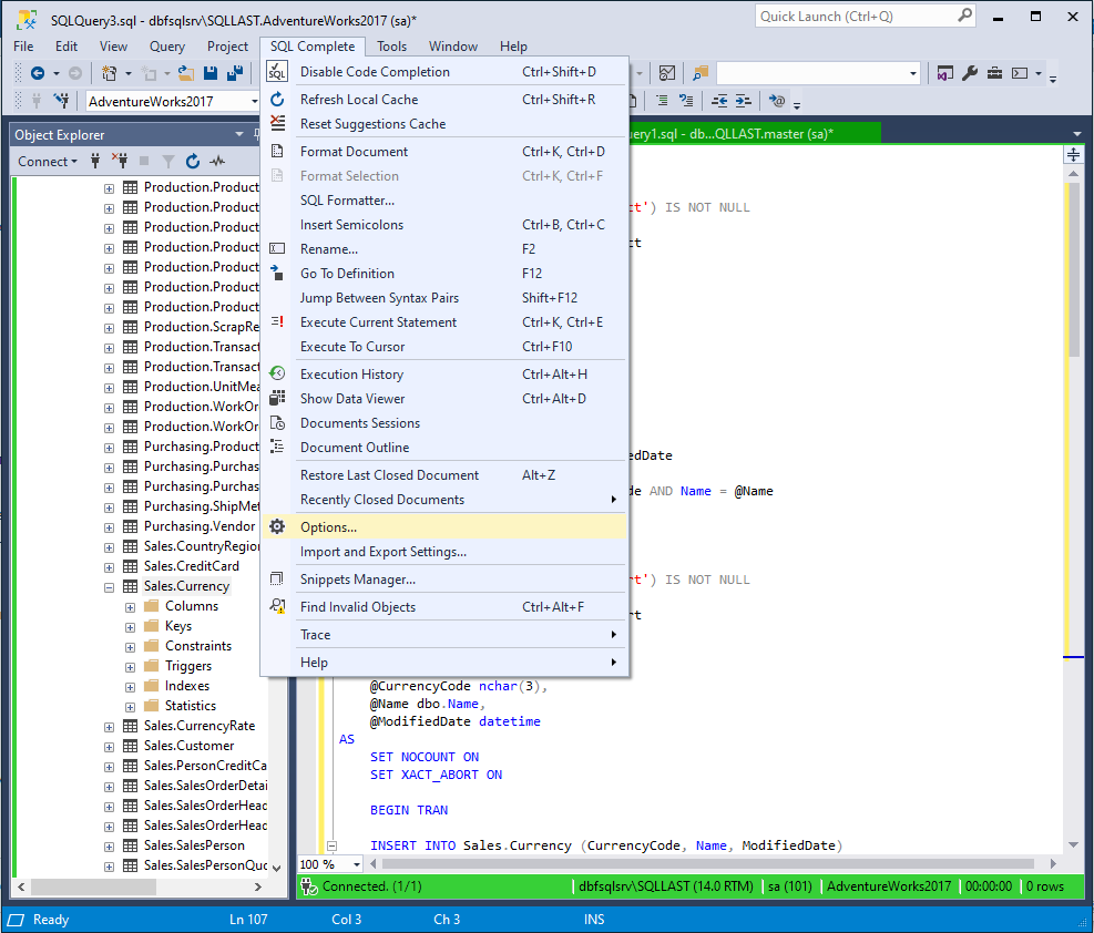 Accessing SQL Complete Options