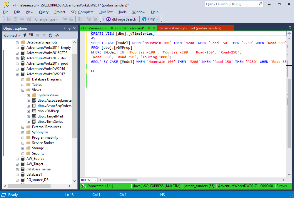 The Collapsed formatting option in SQL Complete 6.3