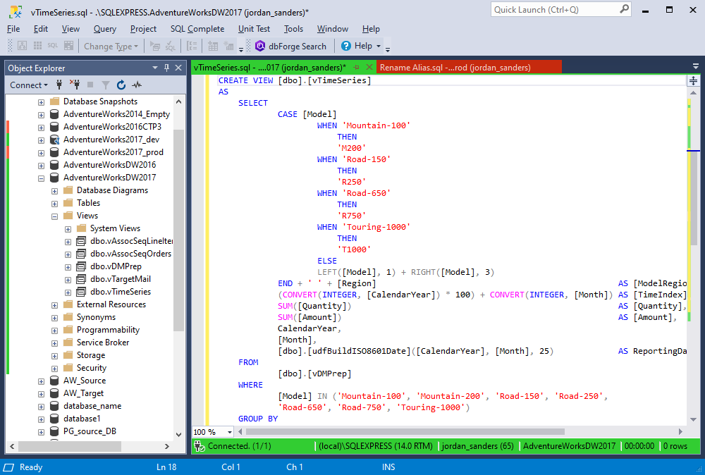 The option of indenting in SQL Complete 6.3