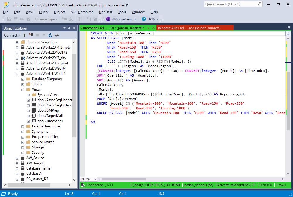 The MSDN SQL formatting profle