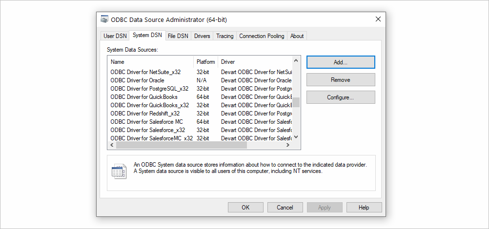 Add DSN for ODBC Driver for QuickBooks