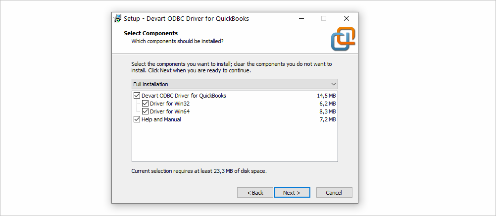 Installation Components in ODBC Driver for QuickBooks
