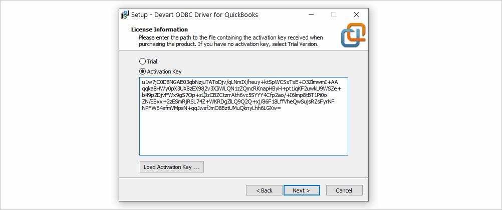 License Key in ODBC Driver for QuickBooks