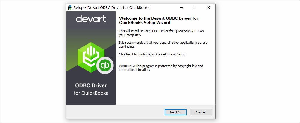 Installation Wizard in ODBC Driver for QuickBooks